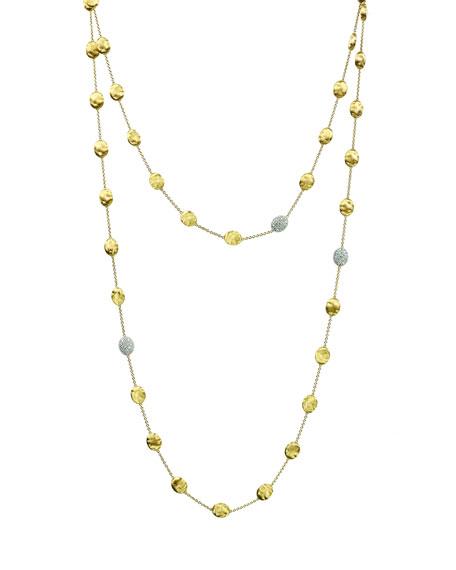 "Marco Bicego Siviglia Pave Diamond Bead Station Necklace, 49.5"""