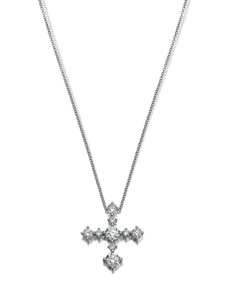 Essentials 18K White Gold Cross Pendant Necklace with Diamonds