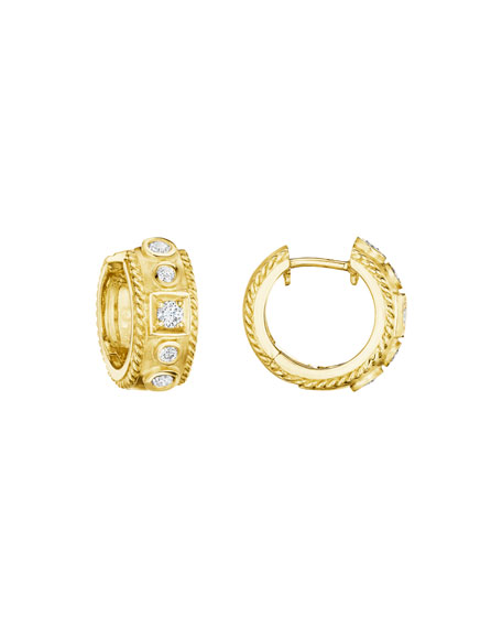 18K Gold Round & Square Diamond Huggie Earrings