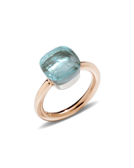 Nudo Rose Gold & Blue Topaz Ring, Size 53