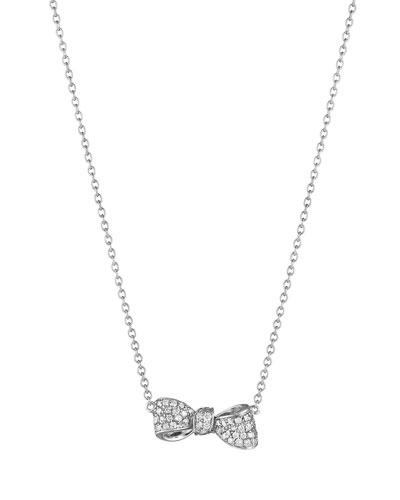 Petite Bow 18k White Gold Diamond Necklace