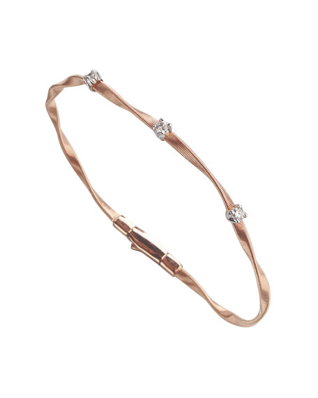 Marco Bicego Marrakech Twisted 18K Rose Gold Bracelet with Diamonds M5UlE