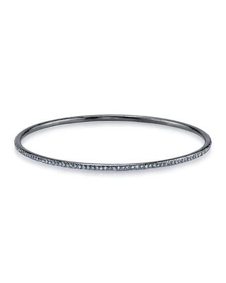 Skinny Pave Diamond Silver Bangle Bracelet