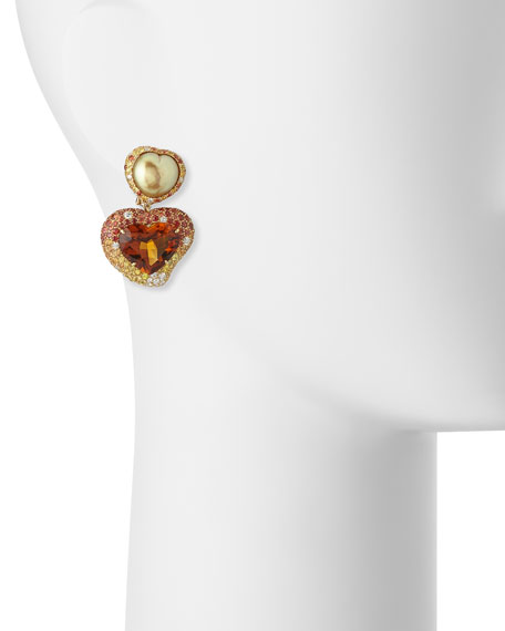 Hearts Desire South Sea Pearl & Madeira Citrine Drop Earrings