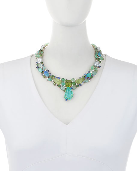 Peridot Paradise Collier Necklace with Diamonds & Sapphires