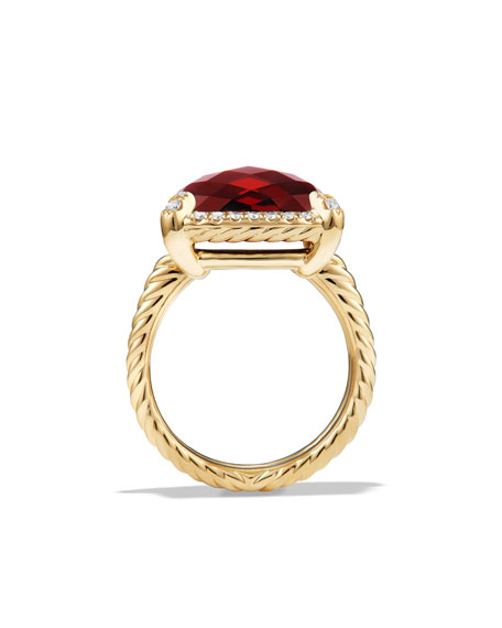 14mm Châtelaine 18K Garnet Ring with Diamonds, Size 7