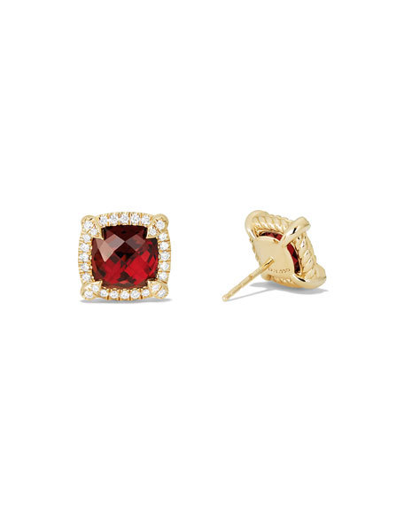 Châtelaine 8mm Garnet & Diamond Earrings