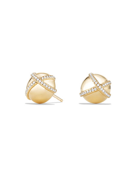 10mm Solari Stud Earrings with Pavé Diamonds