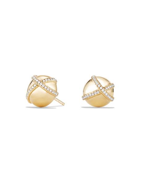10mm Solari Stud Earrings with Pavé Diamonds
