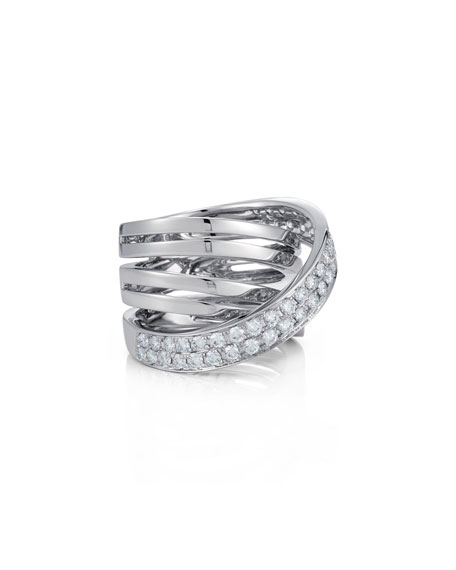 18K White Gold Multi-Row Ring with Diamond Wrap