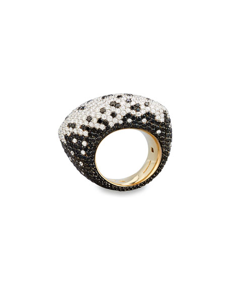Fuseau 18k White Gold White & Black Diamonds full pave Ring, Size 7