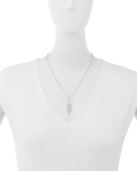 18K White Gold & Diamond Hinged Feather Pendant Necklace