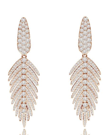 18K Rose Gold & Diamond Feather Drop Earrings