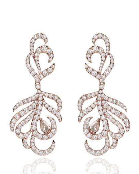 18K Rose Gold & Diamond Drop Earrings