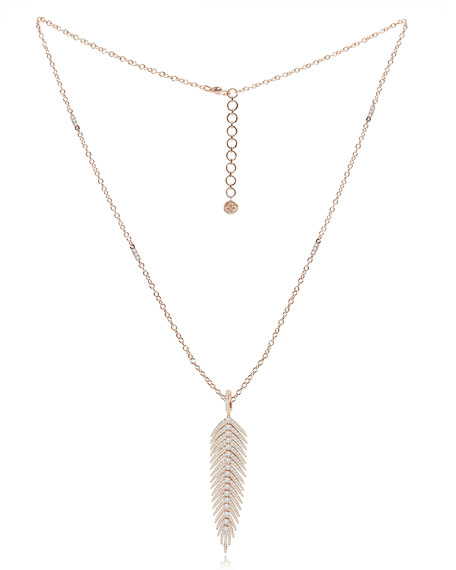 18K Rose Gold & Diamond Hinged Feather Pendant Necklace
