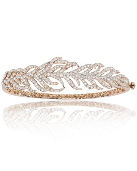 18K Rose Gold & Diamond Feather Cuff Bracelet