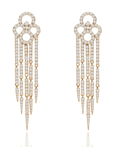 18K Rose Gold & Diamond Tassel Earrings