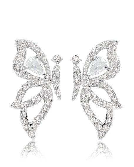 SUTRA 18K White Gold & Diamond Butterfly Earrings