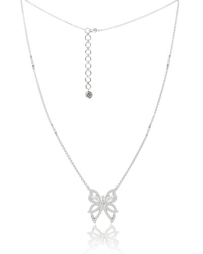 SUTRA 18K WHITE GOLD & DIAMOND BUTTERFLY NECKLACE
