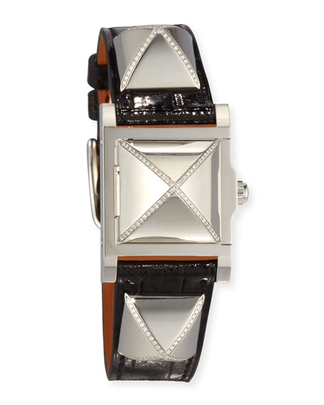 Hermes Médor Stainless Steel Watch with Diamonds