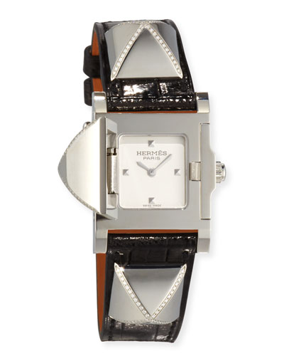 Hermès Médor Stainless Steel Watch with Diamonds