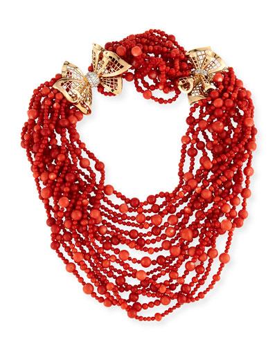 Multi-Strand Coral Necklace with Diamonds
