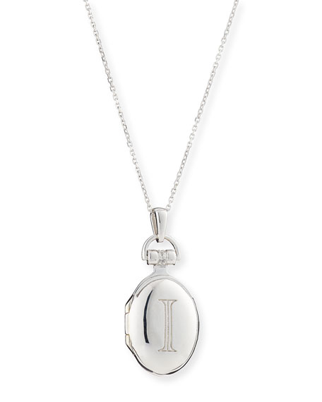 """Petite Sterling Silver Initial """"D"""" Locket Necklace"""
