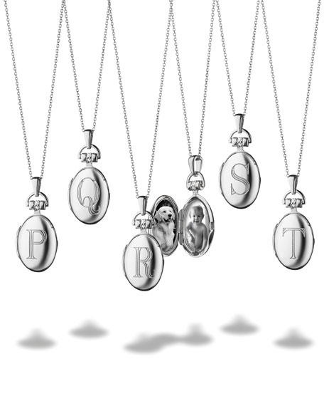 """Petite Sterling Silver Initial """"H"""" Locket Necklace"""