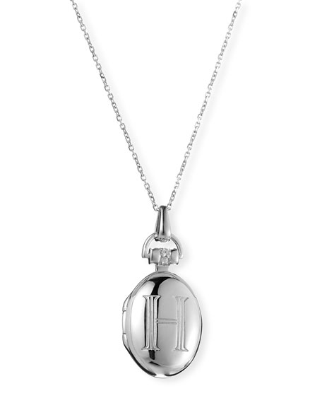 "Petite Sterling Silver Initial ""H"" Locket Necklace"