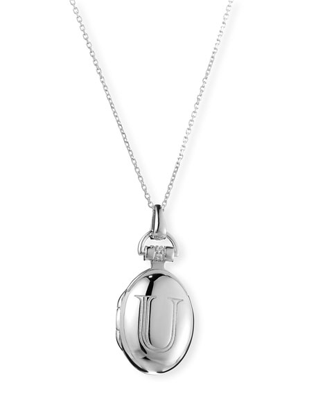 "Petite Sterling Silver Initial ""U"" Locket Necklace"