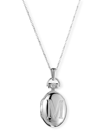 "Petite Sterling Silver Initial ""M"" Locket Necklace"