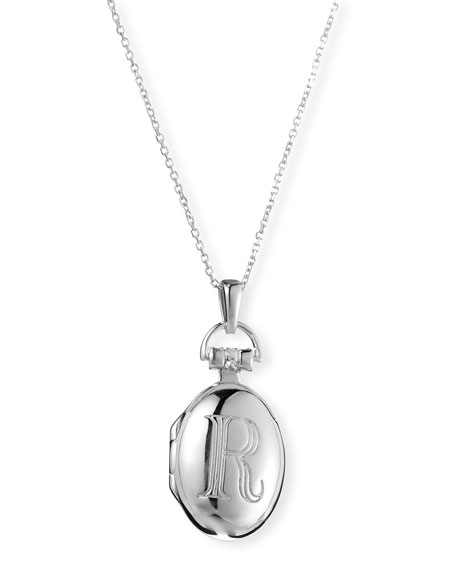 "Petite Sterling Silver Initial ""R"" Locket Necklace"