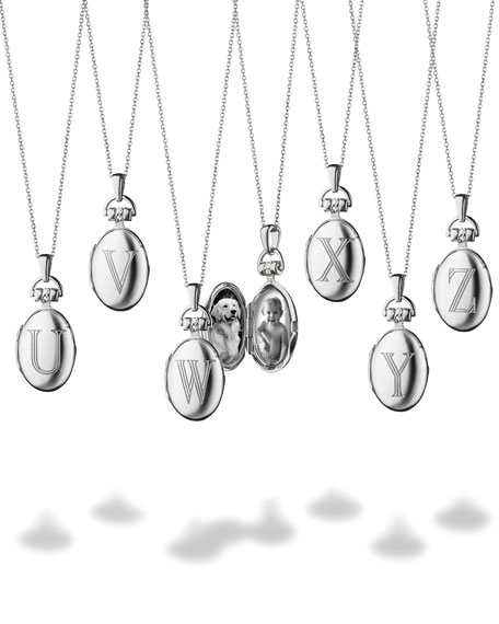 """Petite Sterling Silver Initial """"Z"""" Locket Necklace"""