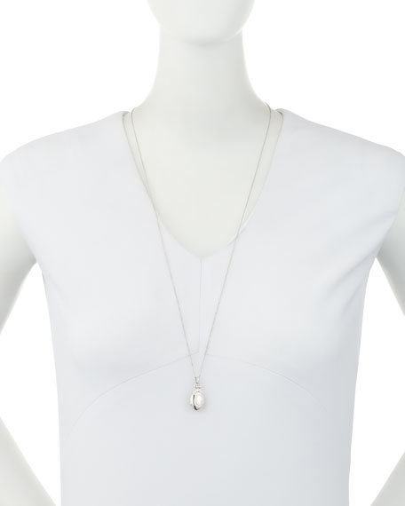"""Petite Sterling Silver Initial """"G"""" Locket Necklace"""