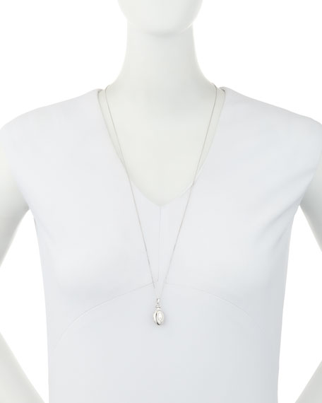 """Petite Sterling Silver Initial """"Q"""" Locket Necklace"""