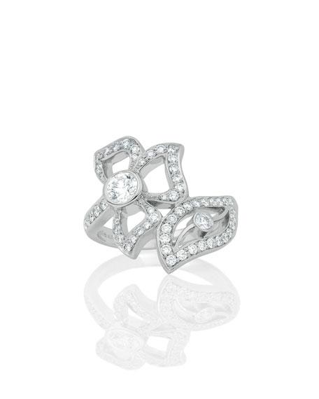 18K White Gold Fiorette Diamond Wrap Ring, Size 7
