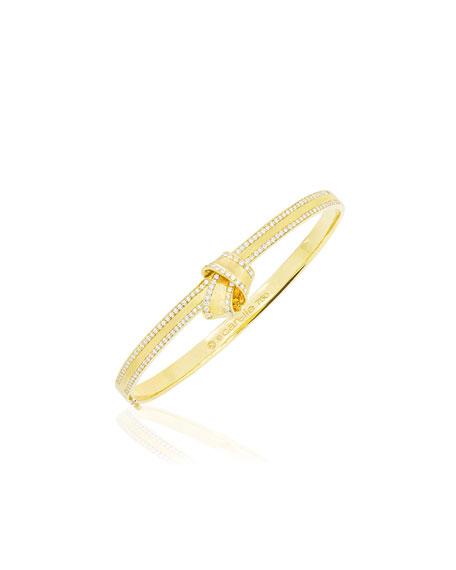 18K Yellow Gold Knot Bangle with Diamonds