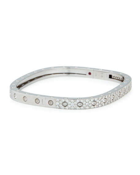 Roberto Coin 18k White Gold Pois Moi One-Row Pave Diamond Bangle