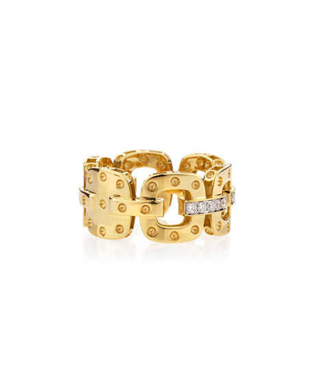 18k Yellow Gold Pois Moi Band Ring with Diamonds, Size 6.5