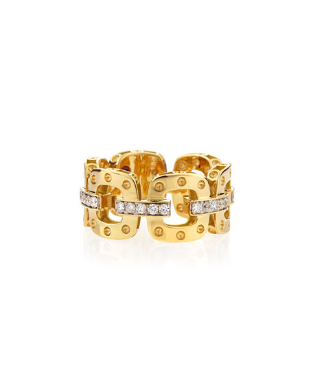 Roberto Coin 18k Rock & Diamond Double-Row Ring, Size 6.5