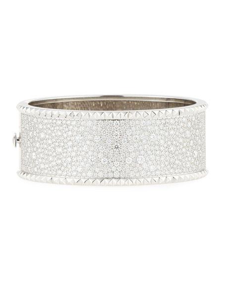 ROBERTO COIN ROCK & DIAMONDS Wide 18K White Gold Bangle with Diamonds