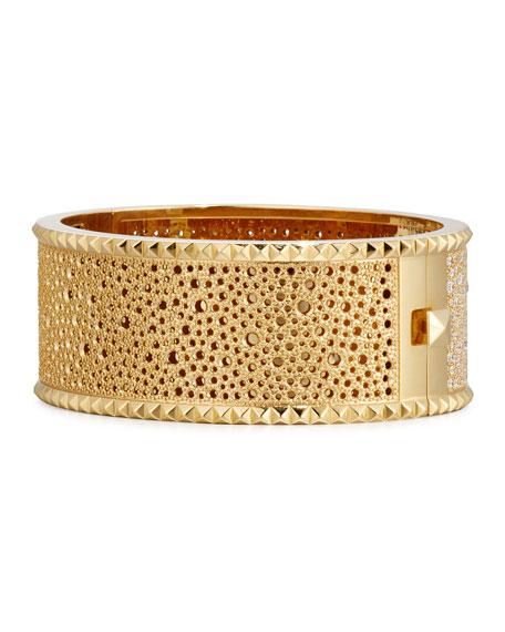 ROBERTO COIN ROCK & DIAMONDS Wide 18K Yellow Gold Bangle Bracelet