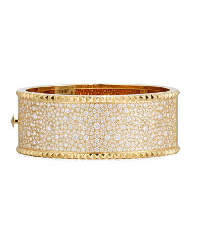 Rock & Diamond Wide 18K Yellow Gold Bangle Bracelet