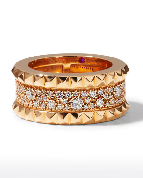 ROBERTO COIN ROCK & DIAMONDS Slim 18K Rose Gold Ring, Size 6.5