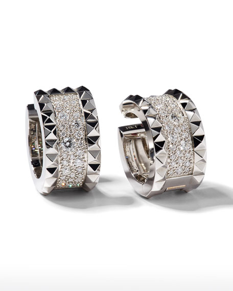 Image 1 of 2: Roberto Coin ROBERTO COIN ROCK & DIAMONDS 18K White Gold Huggie Earrings with Diamonds