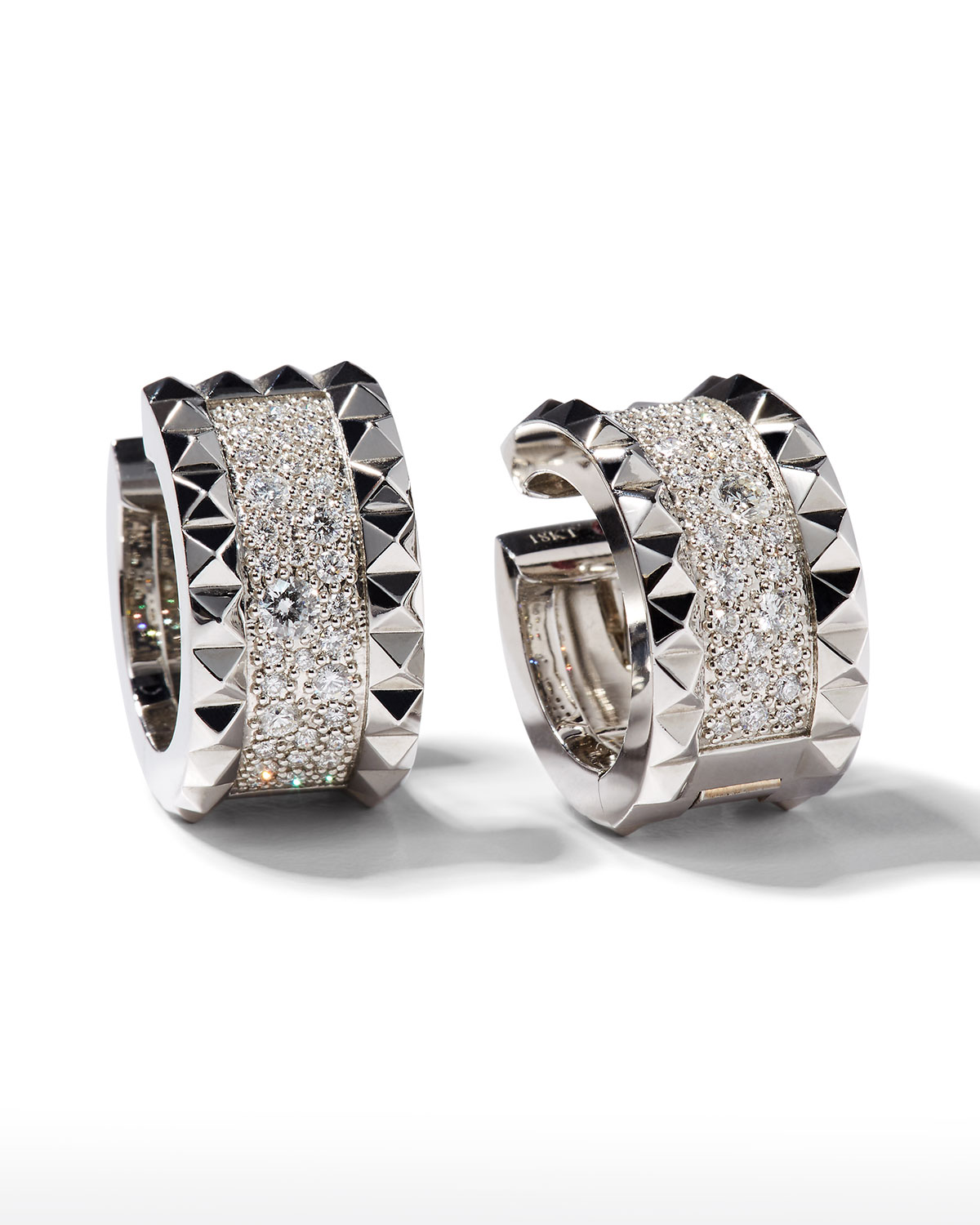 Roberto Coin ROBERTO COIN ROCK & DIAMONDS 18K White Gold Huggie Earrings with Diamonds