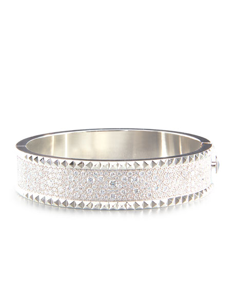 ROBERTO COIN ROCK & DIAMONDS Medium 18K White Gold Bangle