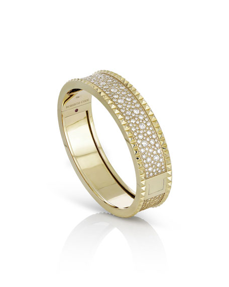 ROBERTO COIN ROCK & DIAMONDS Medium 18K Yellow Gold Bangle Bracelet