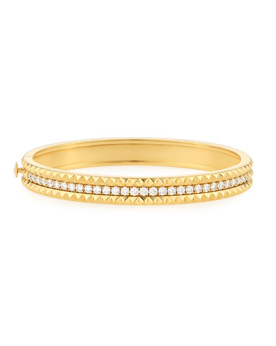 Rock & Diamond 18K Single-Row Bangle