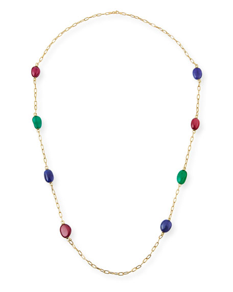 Rubellite, Emerald & Tanzanite Station Necklace in 18K Yellow Gold, 35""